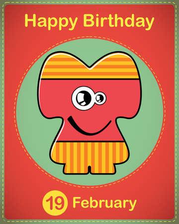 Happy birthday card with cute cartoon monster Stock Vector - 17577818