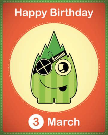 Happy birthday card with cute cartoon monster Stock Vector - 17577928