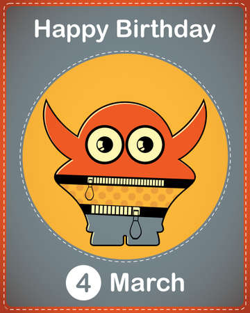 Happy birthday card with cute cartoon monster Stock Vector - 17577886
