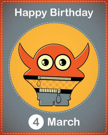Happy birthday card with cute cartoon monster Stock Vector - 17577886