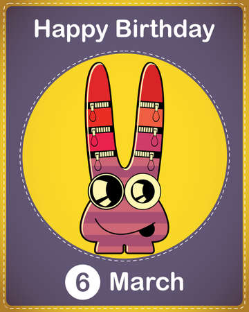 Happy birthday card with cute cartoon monster Stock Vector - 17577912
