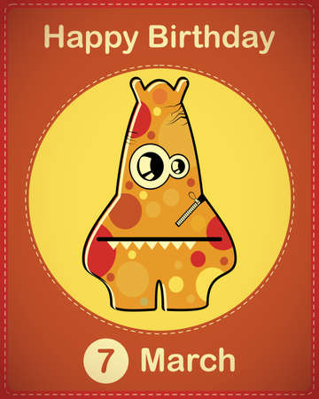 Happy birthday card with cute cartoon monster Stock Vector - 17577961