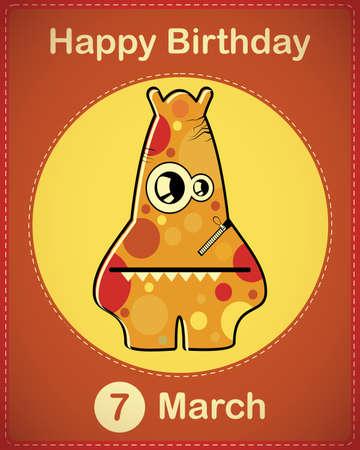 Happy birthday card with cute cartoon monster Stock Vector - 17577961