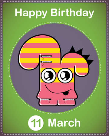 Happy birthday card with cute cartoon monster Stock Vector - 17577832