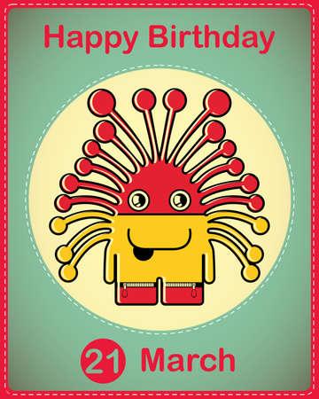 Happy birthday card with cute cartoon monster Stock Vector - 17577927