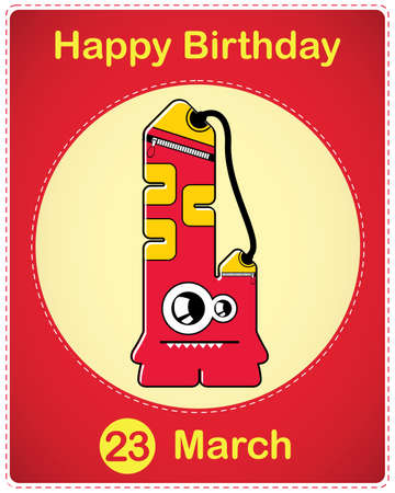 Happy birthday card with cute cartoon monster Stock Vector - 17577838