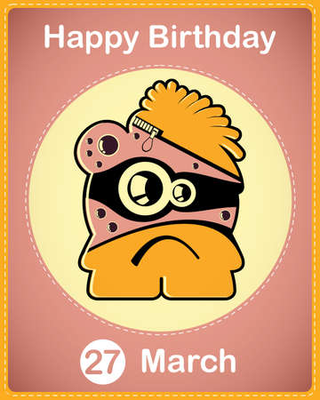 Happy birthday card with cute cartoon monster Stock Vector - 17577904