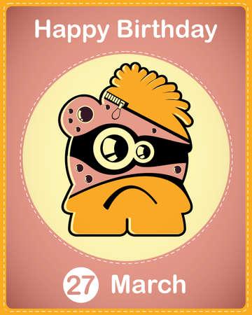 Happy birthday card with cute cartoon monster Stock Vector - 17577904