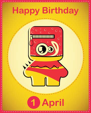 Happy birthday card with cute cartoon monster Stock Vector - 17577929