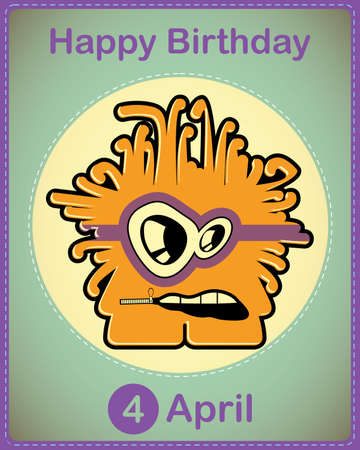 Happy birthday card with cute cartoon monster Stock Vector - 17577914