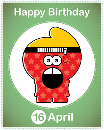 Happy birthday card with cute cartoon monster Stock Vector - 17577843