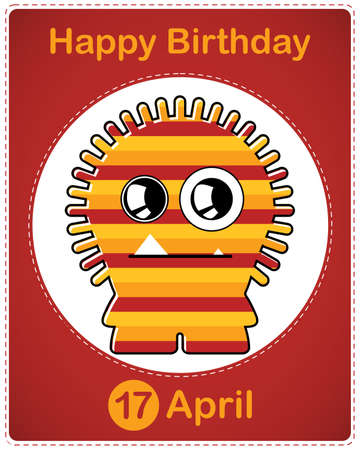 Happy birthday card with cute cartoon monster Stock Vector - 17577847