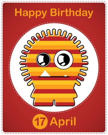 Happy birthday card with cute cartoon monster Stock Vector - 17577847