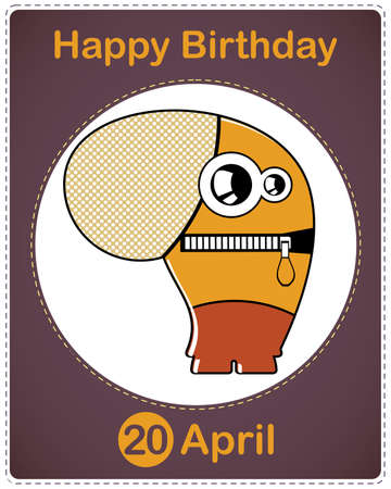 Happy birthday card with cute cartoon monster Stock Vector - 17577924