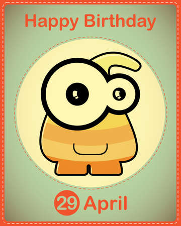 Happy birthday card with cute cartoon monster Stock Vector - 17577874
