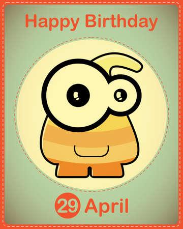 Happy birthday card with cute cartoon monster Stock Vector - 17577874