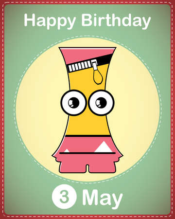 Happy birthday card with cute cartoon monster Stock Vector - 17856930