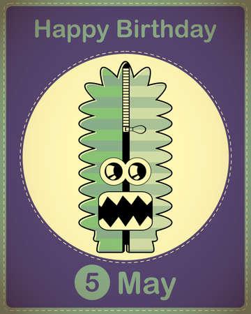 Happy birthday card with cute cartoon monster Stock Vector - 17857091