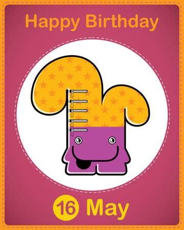 Happy birthday card with cute cartoon monster Stock Vector - 17857013
