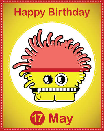 Happy birthday card with cute cartoon monster Vector