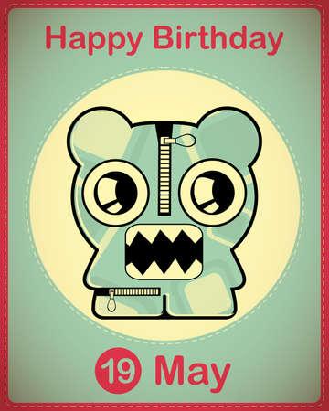 Happy birthday card with cute cartoon monster Stock Vector - 17857088