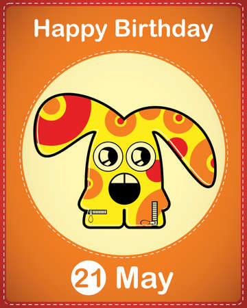 Happy birthday card with cute cartoon monster Stock Vector - 17857040