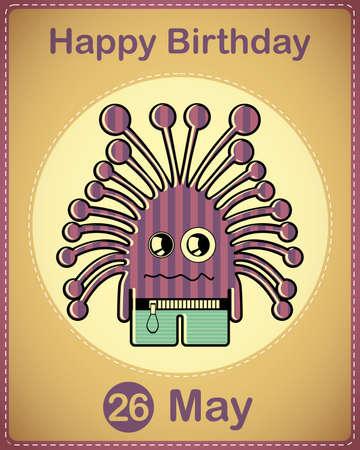 Happy birthday card with cute cartoon monster Stock Vector - 17857116