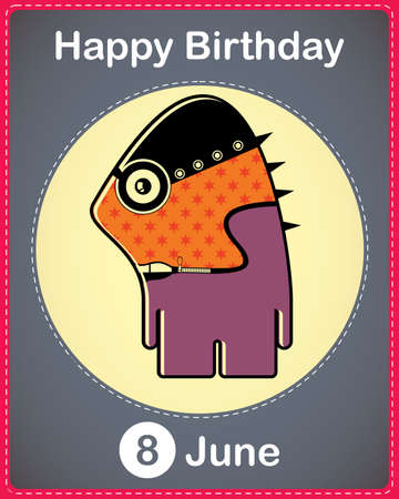 Happy birthday card with cute cartoon monster Stock Vector - 17857047
