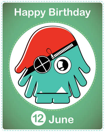 Happy birthday card with cute cartoon monster Stock Vector - 17857045