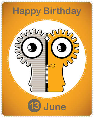 Happy birthday card with cute cartoon monster Stock Vector - 17857020