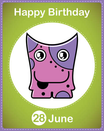 Happy birthday card with cute cartoon monster Stock Vector - 17856963