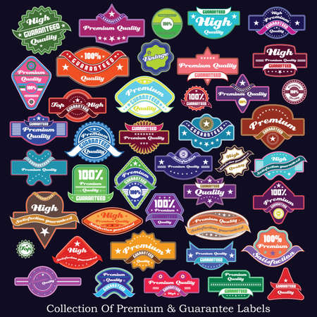 Premium quality and guarantee label collection Stock Vector - 17857376