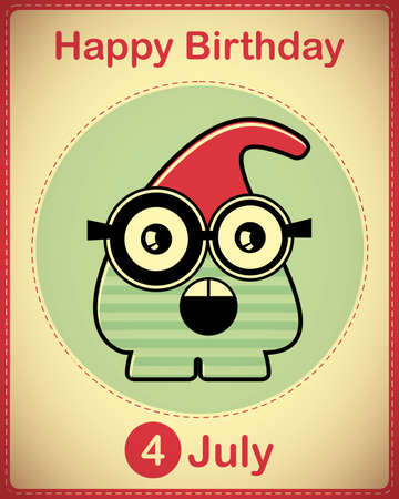 Happy birthday card with cute cartoon monster Stock Vector - 17978441