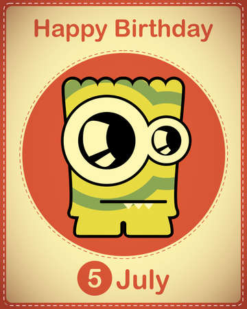 Happy birthday card with cute cartoon monster Stock Vector - 17978387