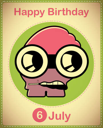 Happy birthday card with cute cartoon monster Stock Vector - 17978323