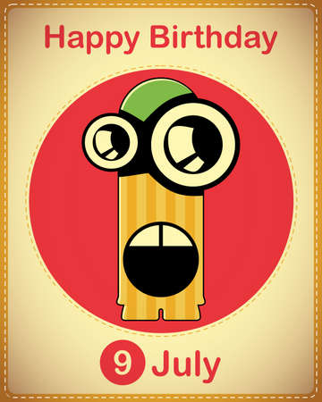 Happy birthday card with cute cartoon monster Stock Vector - 17978379