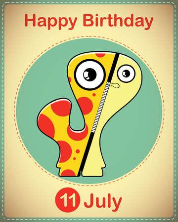 Happy birthday card with cute cartoon monster Stock Vector - 17978328