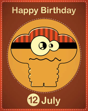 Happy birthday card with cute cartoon monster Stock Vector - 17978315