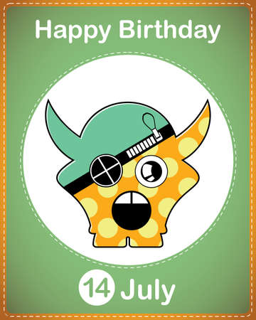 Happy birthday card with cute cartoon monster Stock Vector - 17978059