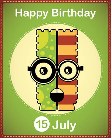 Happy birthday card with cute cartoon monster Stock Vector - 17978366
