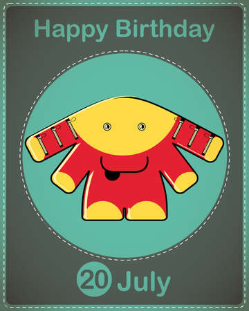 Happy birthday card with cute cartoon monster Stock Vector - 17978375