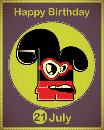 Happy birthday card with cute cartoon monster Stock Vector - 17960663