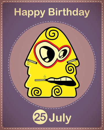 Happy birthday card with cute cartoon monster Stock Vector - 17978383