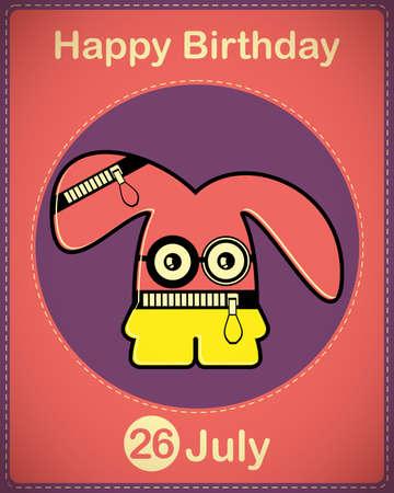 Happy birthday card with cute cartoon monster Stock Vector - 17978427