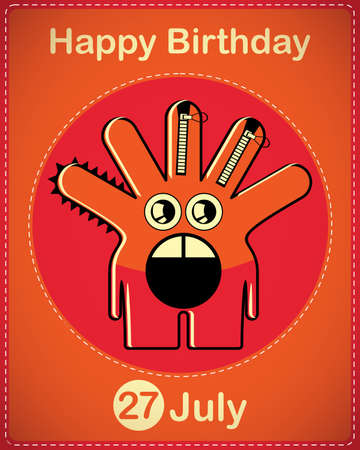 Happy birthday card with cute cartoon monster Stock Vector - 17978351
