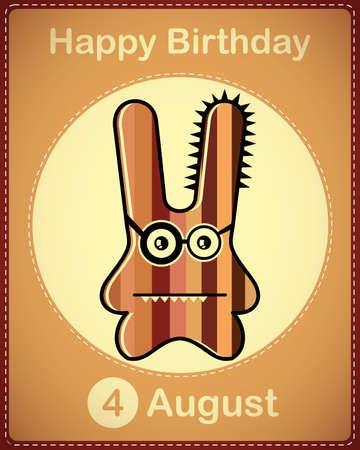 Happy birthday card with cute cartoon monster Stock Vector - 17978402