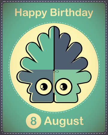 Happy birthday card with cute cartoon monster Stock Vector - 17978335