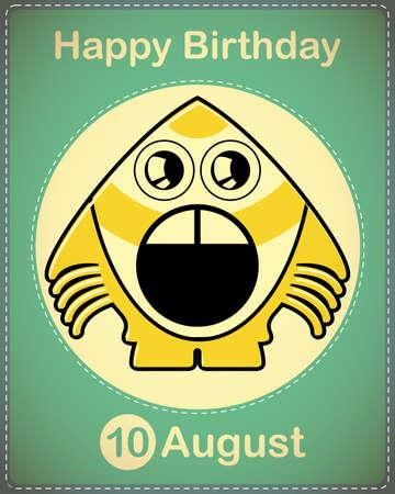 Happy birthday card with cute cartoon monster Stock Vector - 17978368