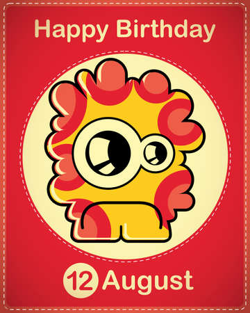 Happy birthday card with cute cartoon monster Stock Vector - 17978401