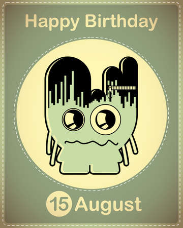 Happy birthday card with cute cartoon monster Stock Vector - 17978347